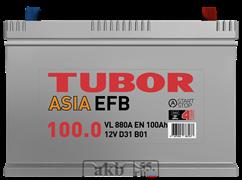 Аккумулятор 100.0 TUBOR EFB Азия обратный
