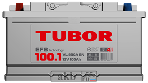 Аккумулятор 100.1 TUBOR EFB прямой
