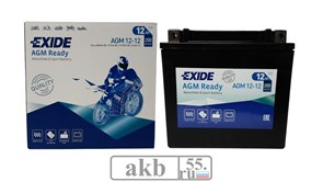 Аккумулятор 12Ah EXIDE Moto AGM  200a (AGM12-12)