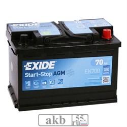 Аккумулятор 70 EXIDE AGM Start-Stop обратный - фото 5576
