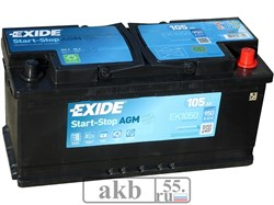 Аккумулятор 105 EXIDE AGM Start-Stop обратный - фото 5578