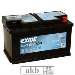 Аккумулятор 80 EXIDE AGM Start-Stop обратный - фото 5580