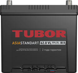 Аккумулятор 62.0 TUBOR Азия борт обратный - фото 5615