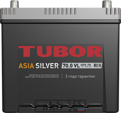 Аккумулятор 70.0 TUBOR Азия SILVER борт обратный - фото 5618