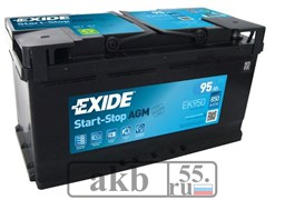 Аккумулятор 95 EXIDE AGM Start-Stop обратный