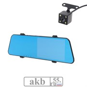Видеорегистратор 2 камеры, разрешение HD 1080P, размер 29х8 см, TFT 5.5, угол обзора 170°